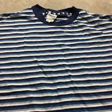 90s Vtg nos Striped Made In Usa Blue Black White Vaporwave T Shirt Skate Xl Bold