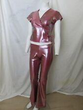 The Attic Las Vegas 70s Costume Size S Pink Metallic Bell Bottom Pants Crop Top