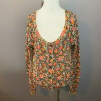 H&M L.O.G.G. Size M Floral Cardigan Sweater Long Sleeve Wool Alpaca Gray Pink