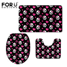 Skull 3Pcs/Set Bathroom Soft Washable Pedestal Rug + Lid Toilet Cover + Bath Mat
