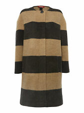Max Mara Studio Charcoal & Camel Wool Blend Stripe Coat Size 14/16 Retail