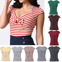 Women's 50s Vintage Retro Rockabilly Pinup Shirts gypsy Bardot Tops Blouse NEW
