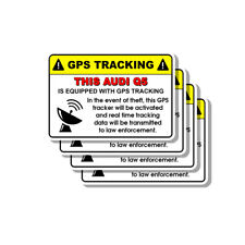 Audi Q5 Security Yellow Warning GPS Tracking Decal Stickers 4 PACK