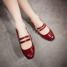 Women Mary Janes Patent Leather Low Block Heel Buckle Pump Shoes Low tops Casual
