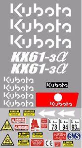 Decal Sticker set. KUBOTA KX61-3 Mini Digger Pelle Bagger Excavator