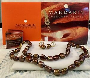 "Honora Mandarin Bronze Pearl 14 K 18"" Necklace & Lever back Earrings Box New COA"