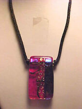Oriental Glass Pendant Necklace Red Thick Gold Foil Glass Black Silk Cord 20""