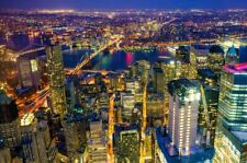 Home Wall Decor New York City Manhattan At Night Painting Printed On Canvas II