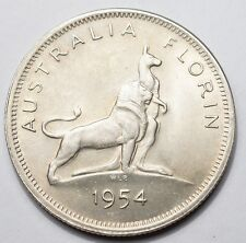 AUSTRALIE : 1 FLORIN ARGENT 1954 VISITE ROYALE