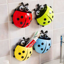 Creative Cute Cartoon Ladybug Kids Wall Suction Cup Mount Toothbrush Holder Hot