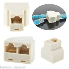 CAT5 6 RJ45 Ethernet Cable LAN Port 1 to 2 Socket Splitter Connector Adapter 2Pc