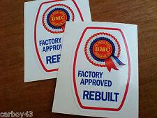 BMC ROSETTE FACTORY APPROVED REBUILT Classic Retro Car Stickers 2 off 60mm