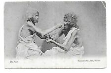 THE FIGHT Indian India Madras 1910 Postmark Ethnic Postcard