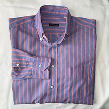 Bergdorf Goodman Men's Sz M Blue/Salmon Button-down L/S Shirt EXCELLENT O200610
