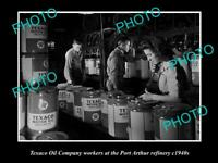 OLD POSTCARD SIZE PHOTO OF TEXACO OIL COMPANY WORKERS Pt ARTHUR REFINERY c1940