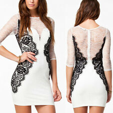 White Sheer Sleeve Black Lace Bodycon Stretch Slim Mini Dress Clubwear LARGE OS