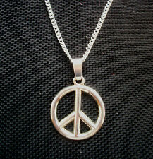 Peace Sign Symbol Pendant Necklace  Silver Tone 18 inch chain