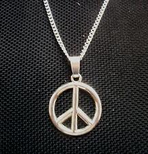 Peace Sign Symbol Pendant Necklace  Silver Tone 18 inch chain
