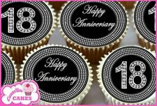 24 x 18TH ANNIVERSARY BLACK & DIAMOND EDIBLE CUPCAKE TOPPERS RICE PAPER 8367