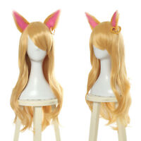 LOL KDA Ahri Cosplay Wig Long Straight Blonde Gold Hair Ears Women Anime Wigs