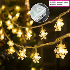 3M 20 LED Snowflake LED Fairy String Lights Battery Operated Christmas Party Dec
