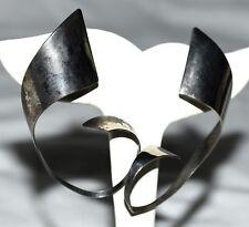 "Vintage Geometric Curled Bendable Sterling Silver 2.25"" Drop Pierced Earrings"