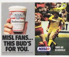 1985-86 PITTSBURGH SPIRIT MISL POCKET SCHEDULE: DAVE MacKENZIE COVER - FREE SHIP