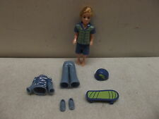 MATTEL POLLY POCKET BOY BLONDE HAIR SKATER W/OUTFITS SHOES SKATEBOARD & HELMET