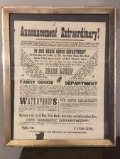 Antique Framed Broadside Advertisement Fall Winter Fashion Van's Tipton IA 1880s