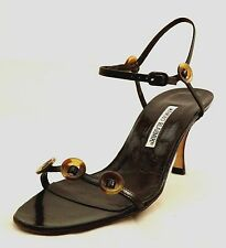 MANOLO BLAHNIK 'RENOIR' Ankle Strap Leather Sandals High Heel Open Toe 9.5 New