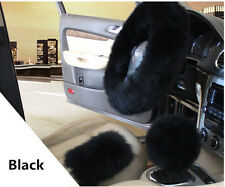 Super Soft Warm BLACK Sheepskin Long Wool Fuzzy Steering Wheel Cover 3Pcs/Set