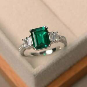 3.50 Ct Natural Emerald Diamond Engagement Ring 14K Real White Gold Size 5 6 7