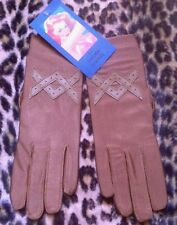 FRENCH 1950s WOMAN STRETCH DRIVING GLOVES~GOLDEN BROWN~MADE IN FRANCE~DEADSTOCK