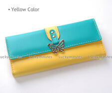 C692 Yellow Cyan Butterfly Metal Lady Women Wallet Card Holder Coin Bag Purse