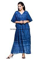 Indian Indigo Blue Tie Dye Boho Summer Beach Long Kaftan Cover-Up Tunic Dress