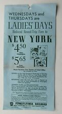 "Pennsylvania Railroad Broadside ""Ladies Day""  New York To Phily, Delaware"