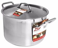 More details for zsp heavy duty stainless steel pan professional large saucepan & lid 24cm 8.1l