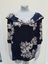 Ladies Top by Emily - Size 24 - Navy/grey flowers
