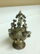 "Elaborate Brass Hinged Covered Ritual Object 5 1/4"" Tall"