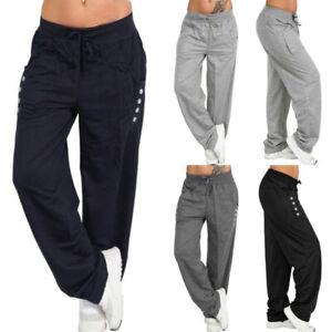 Unisex Womens Long Trouser Elasticated Wide Leg Pants Jogger Jogging Plus Size