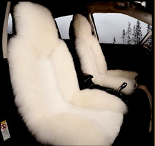 Premium White Wool Faux Sheepskin Cover Plushed Car Seat Cover Universal Fit