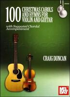 100 Christmas Carols and Hymns for Violin and Guitar Sheet Music Book Xmas Songs