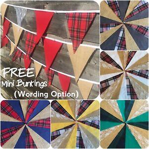 Tartan Bunting Fabric Hessian Handmade Burns Night Hogmanay wedding 3-12m + FREE