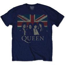 Queen T Shirt Union Jack Vintage Official Mens Navy Blue Tee Freddie Mercury L