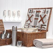 Fine Food Store Sandringham 4Person Luxury Wicker Picnic Basket with Accessorie