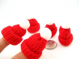 5 of Cute red Mini Knitted Hat Christmas Bobble Hat Beanie Decoration Stockings
