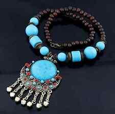 Collier Bohème bois, perle turquoise & bronze // Top qualité (Bohemian necklace)