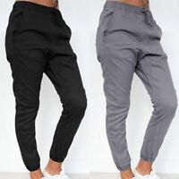 Mode Femme Loose Taille elastique Poche Crayon Couleur Unie Loisir Pantalon Plus