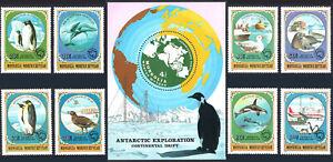 Mongolie 1137-1144, 1145 S/S, MNH Antarctique Animaux & Explorations, 1980