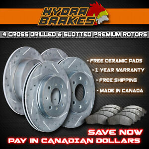 2004 2005 Chevy Avalanche 1500 4WD Slotted Drilled Rotor w//Ceramic Pads F+R